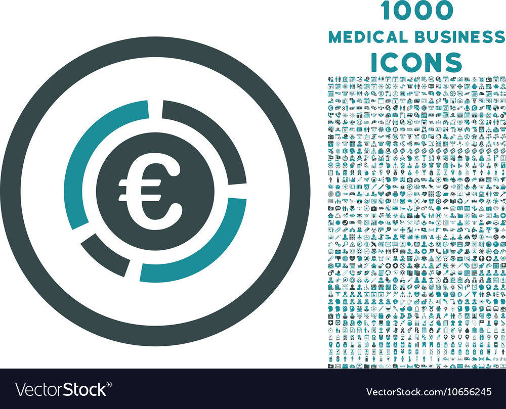 Euro Financial Diagram Rounded Icon with 1000