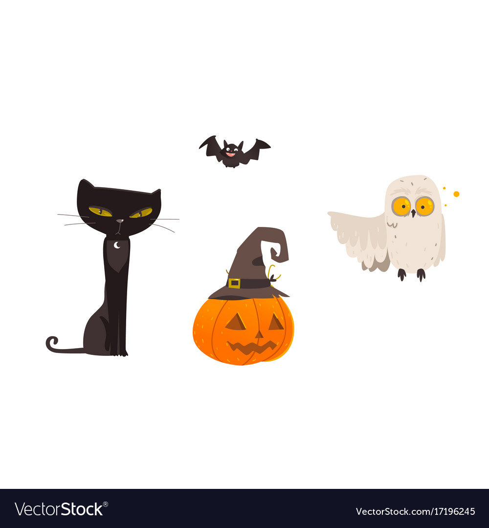 Halloween objects - cat owl bat pumpkin lantern