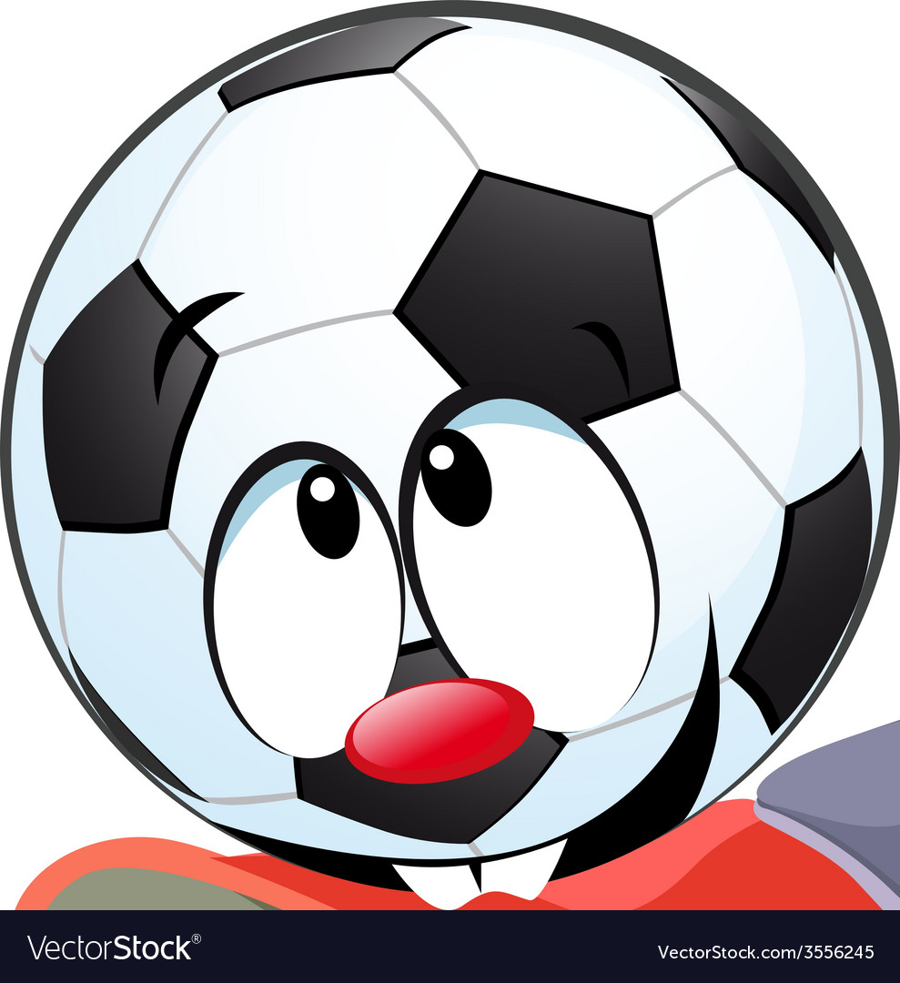Kick the ball biting - funny vector image