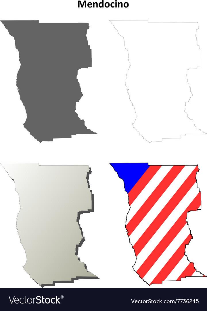 Mendocino County California Outline Map Set Vector Image