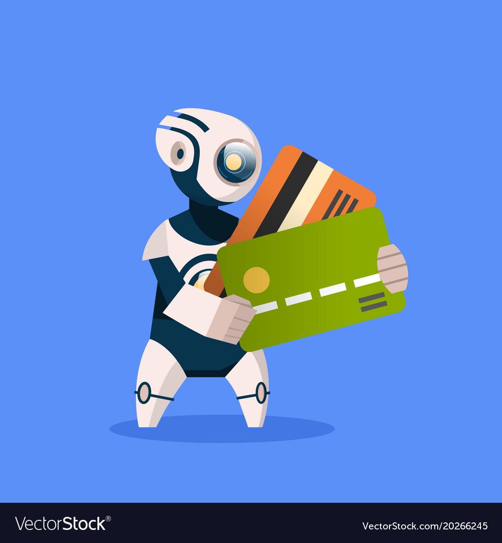 Robot holding credit cards on blue background
