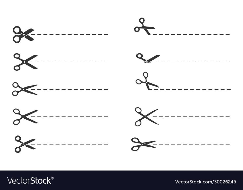 Scissors cut lines paper cut symbol template
