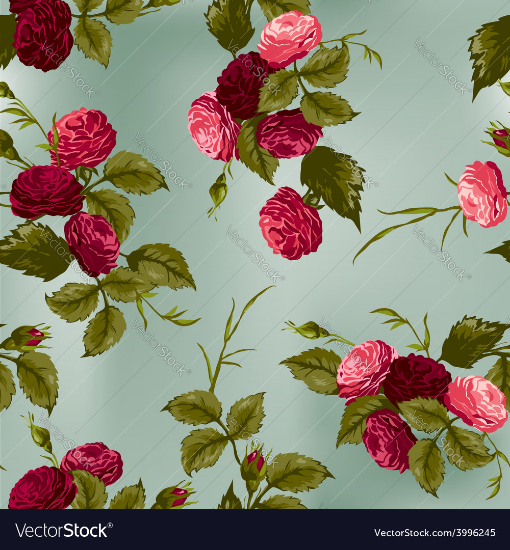 Seamless floral pattern with red and pink roses
