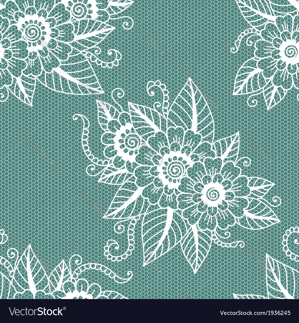 Seamless flower lace pattern vector image