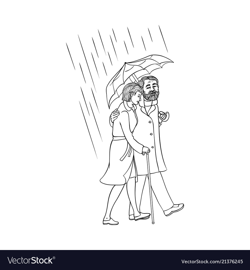 Senior old couple walking under umbrella