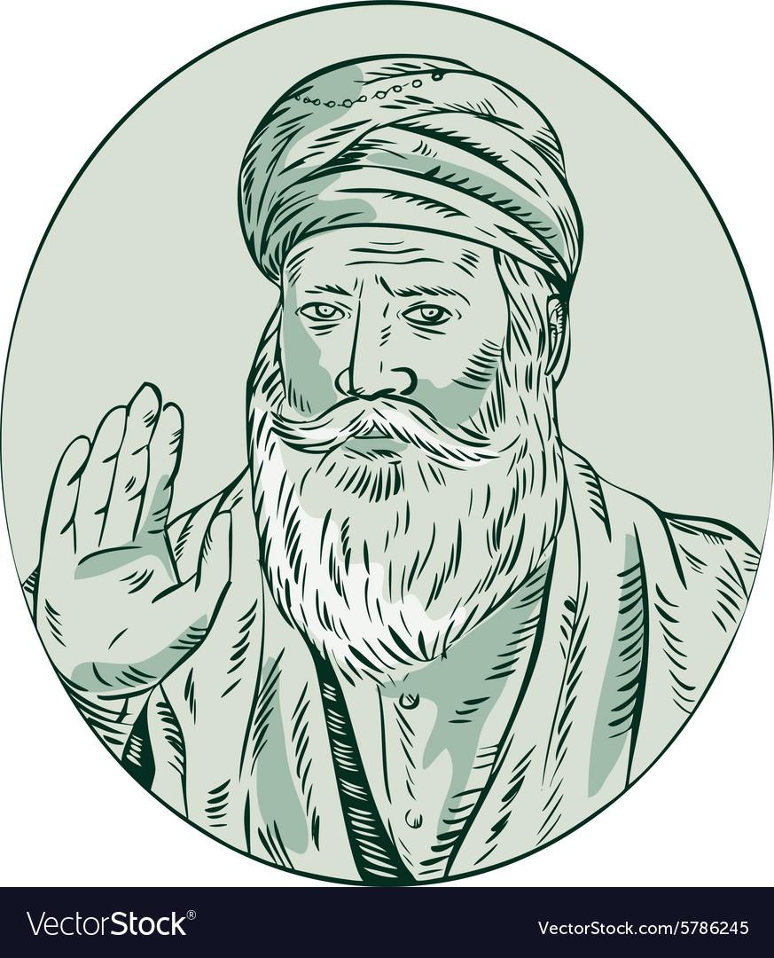Sikh Guru Priest Waving Etching