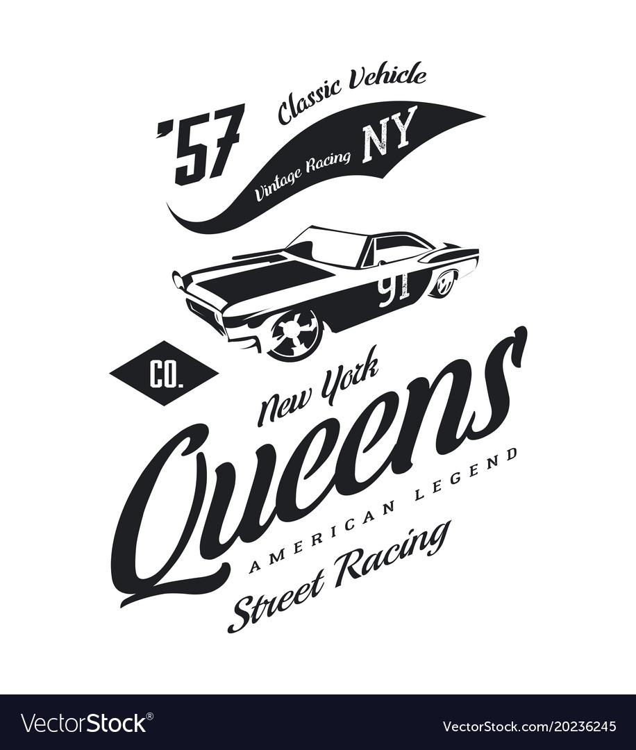Vintage Muscle Car Logo Royalty Free Vector Image