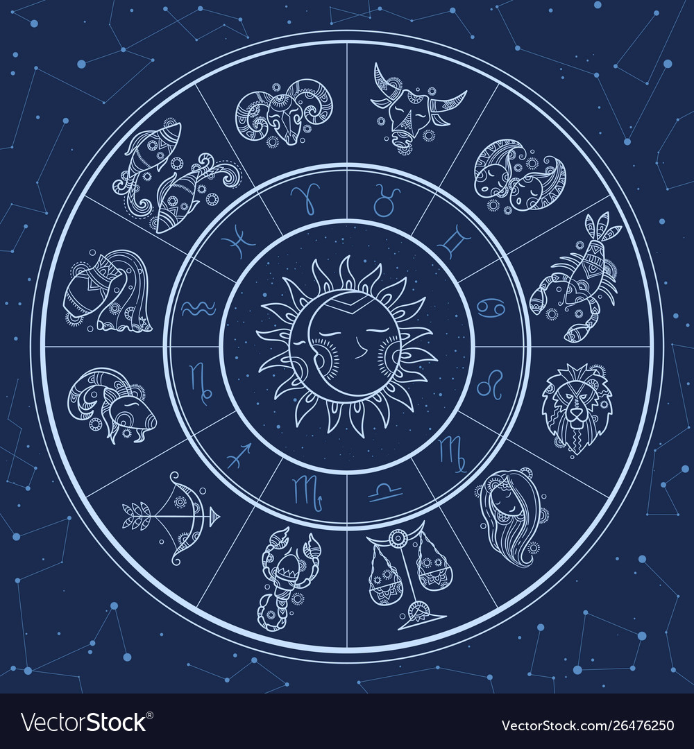 Astrology circle magic infographic with zodiac