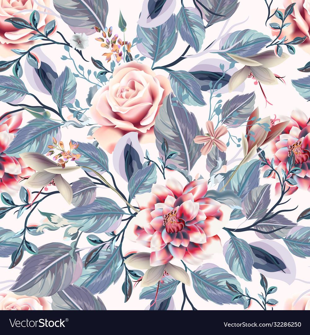 Beautiful seamless vintage pattern pink roses