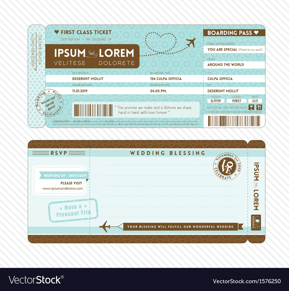 boarding pass wedding invitation template vector image