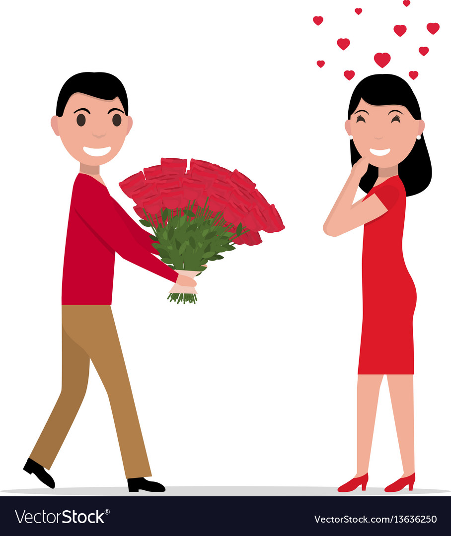 Cartoon man gives flowers to a woman