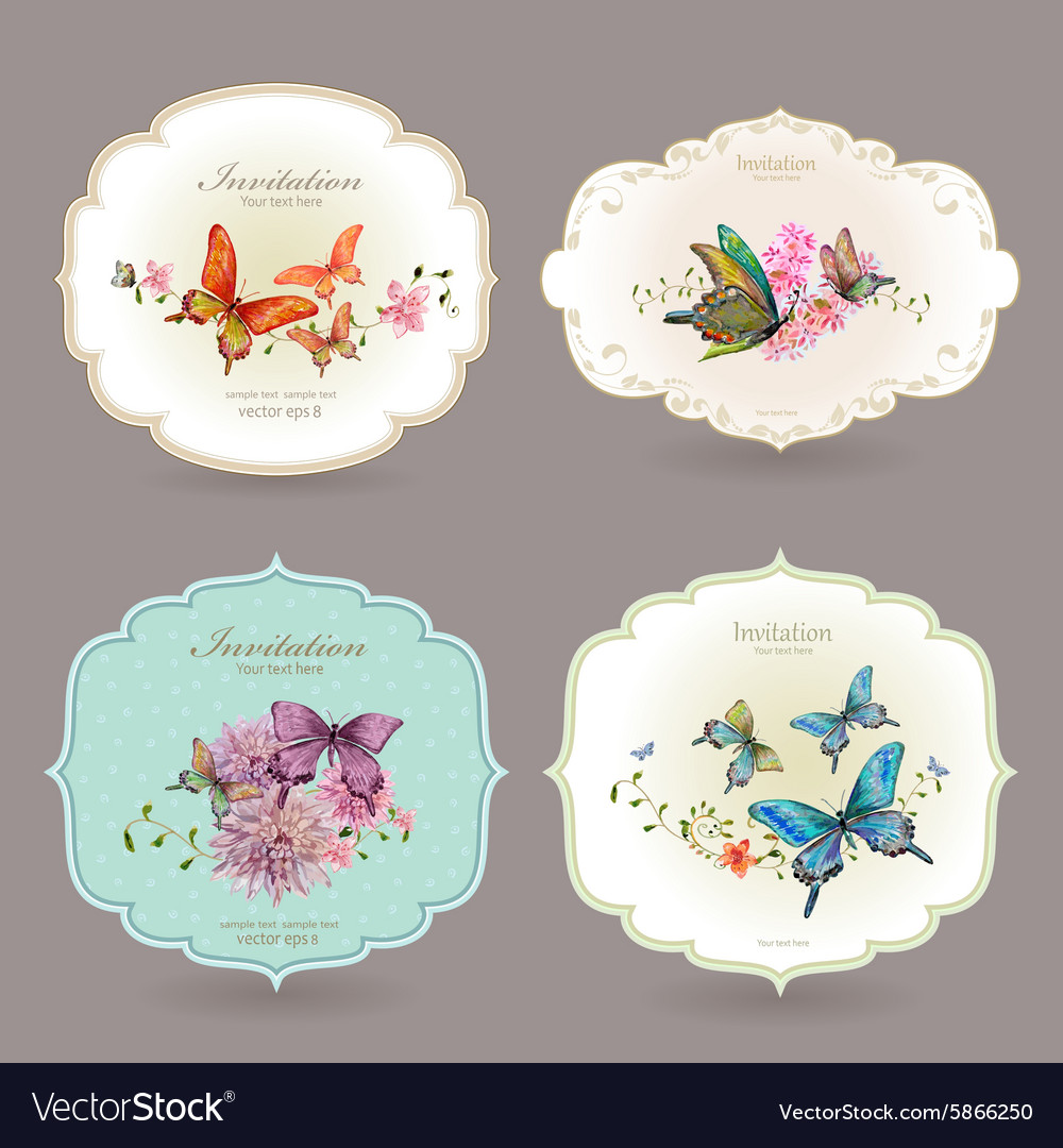 Collection retro label with butterflies watercolor