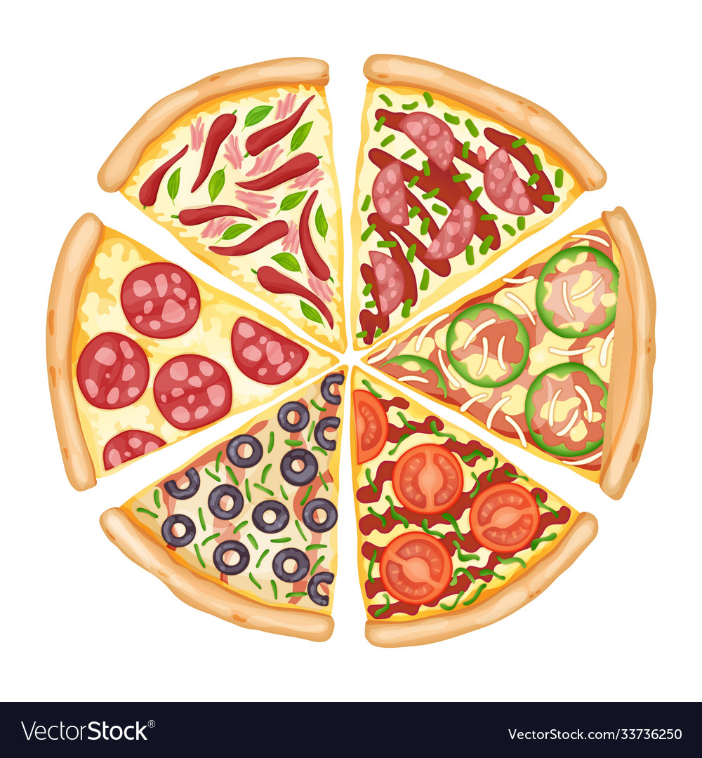 Color pizza top view savoury pizza ads with 3d