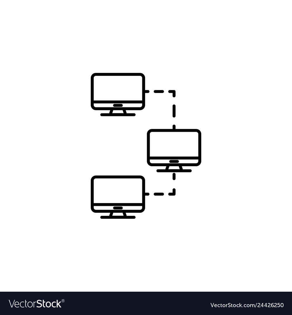Computer connections icon emblem isolated on