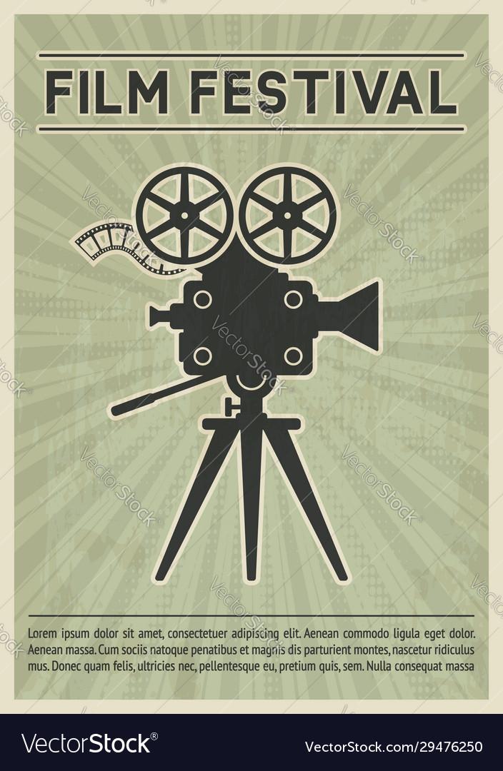 Film festival poster retro movie camera black
