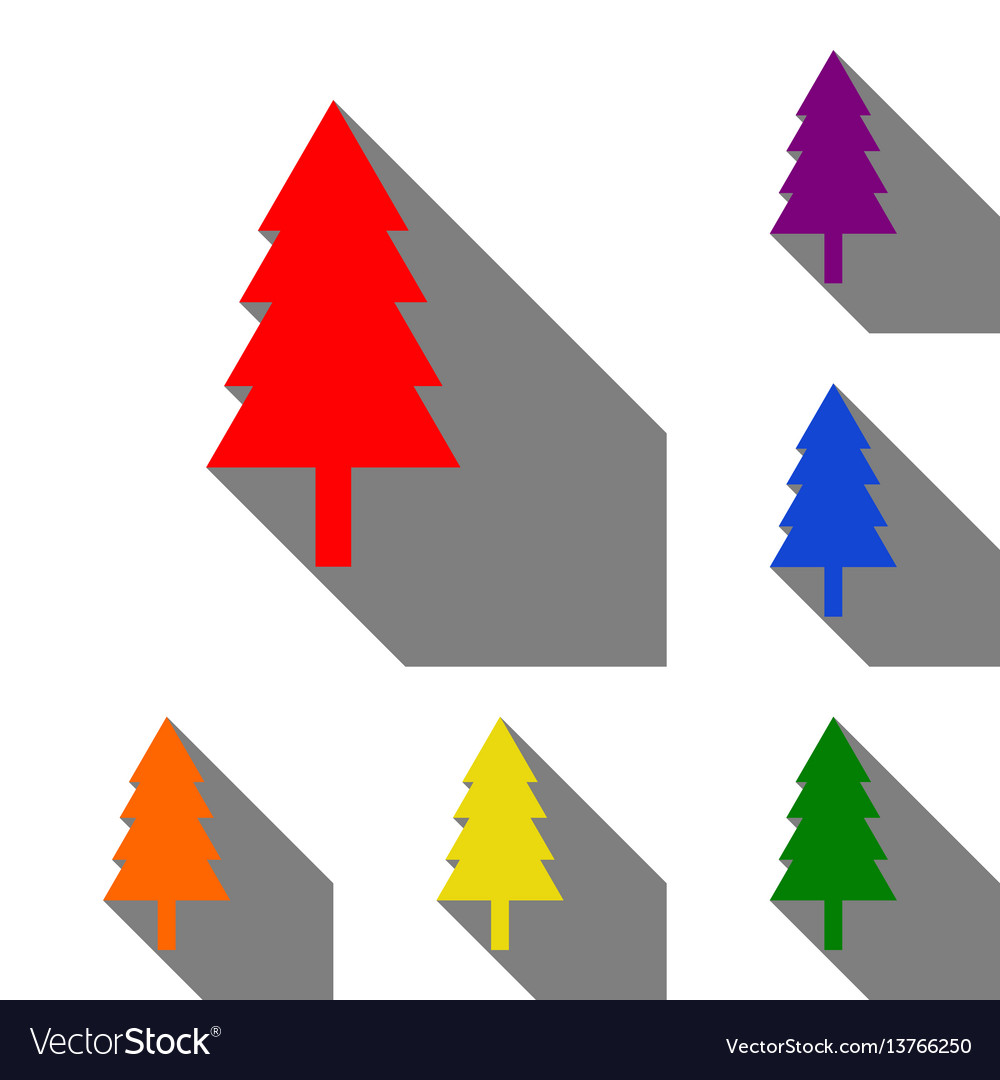 New year tree sign set of red orange yellow vector image