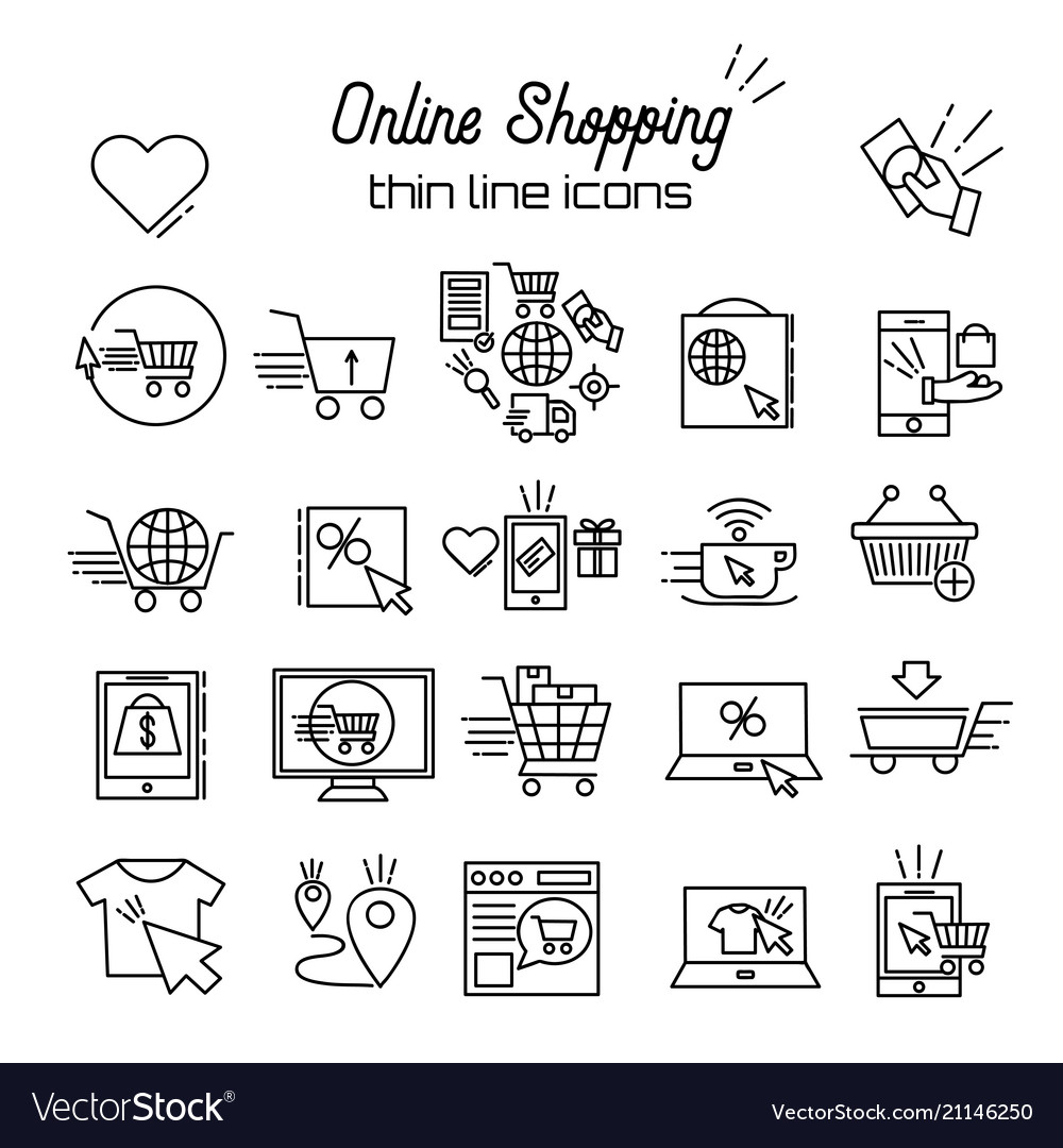 Online shopping line icons e-commerce