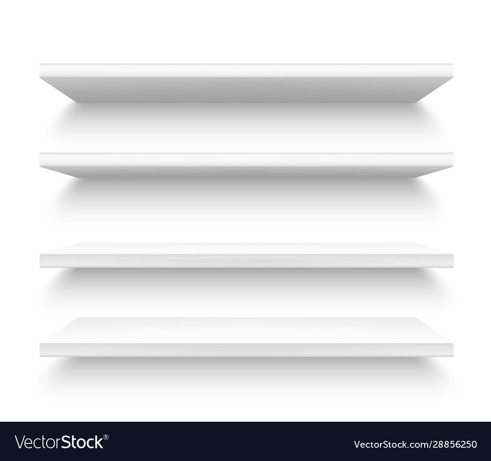Realistic plastic shelves 3d metallic white shelf