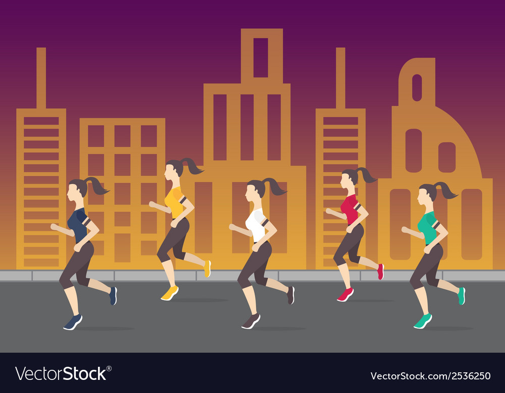 Running people silhouettes Women running on the