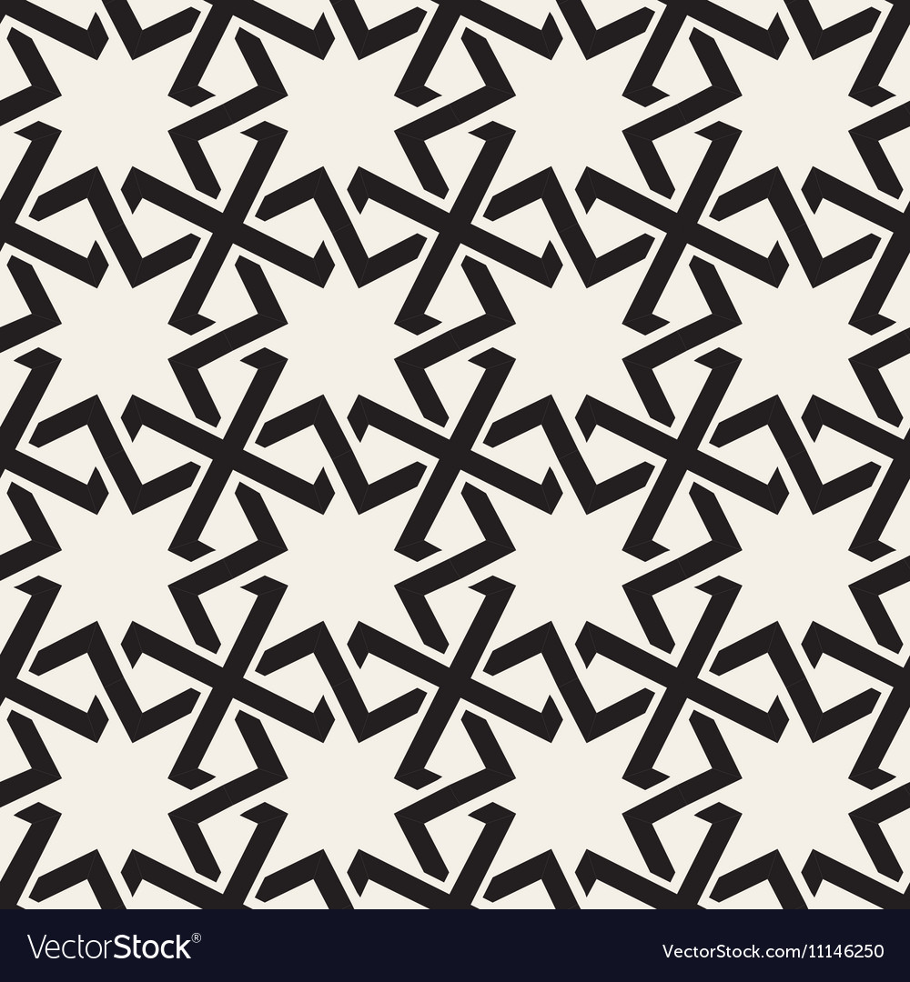 Seamless Black White Geometric Islamic Star