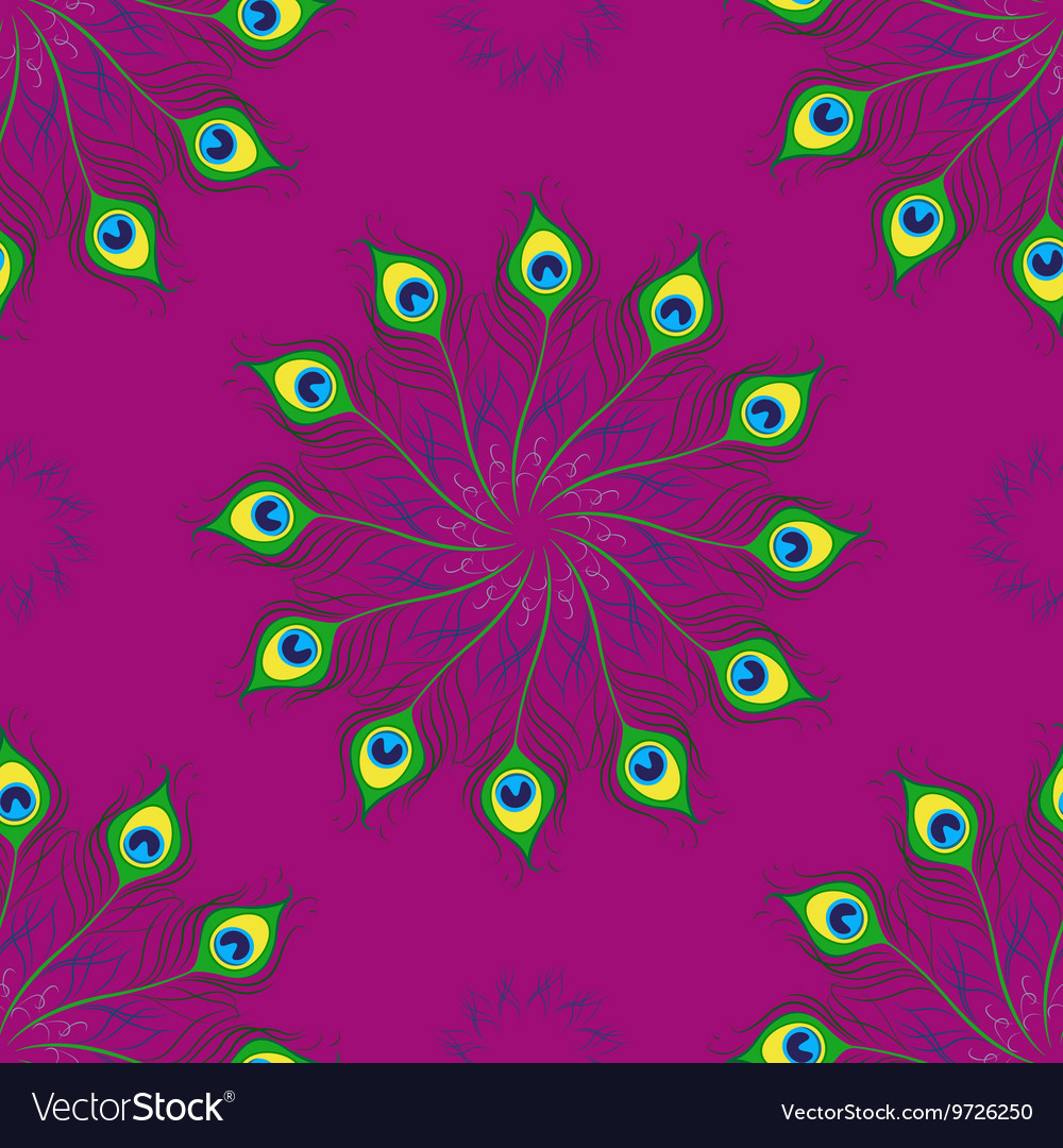 Seamless pattern of peacock feathers Mandala