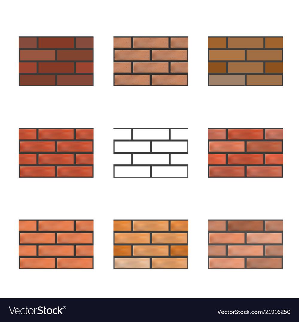 Set of seamless textures of brick wall