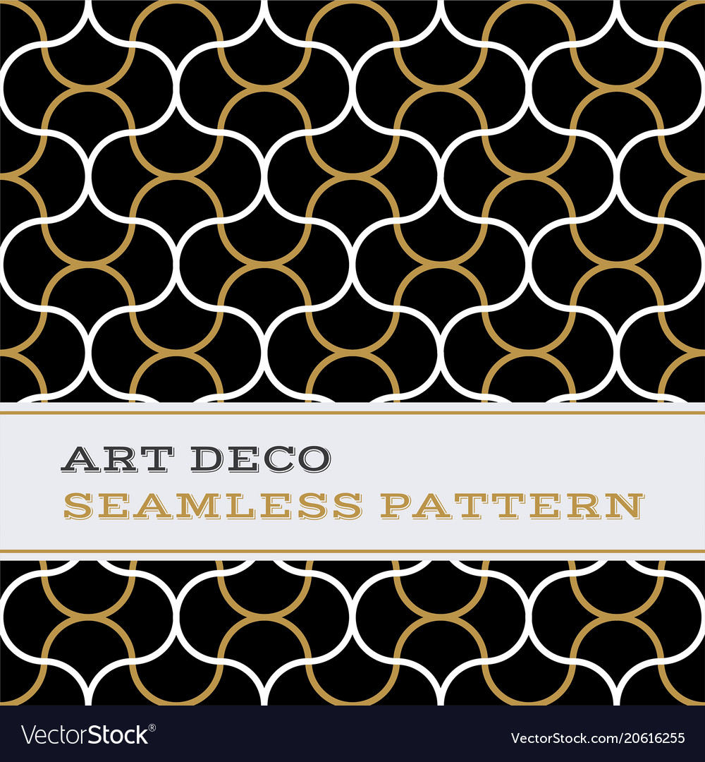 Art deco seamless pattern black white and gold