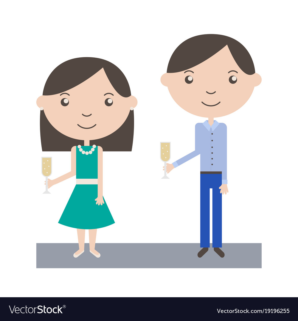 Cartoon people toasting at party vector image