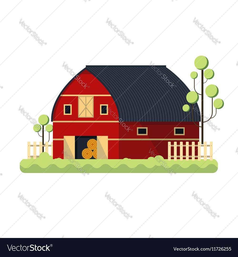 Farming barn flat for storing hay vector image
