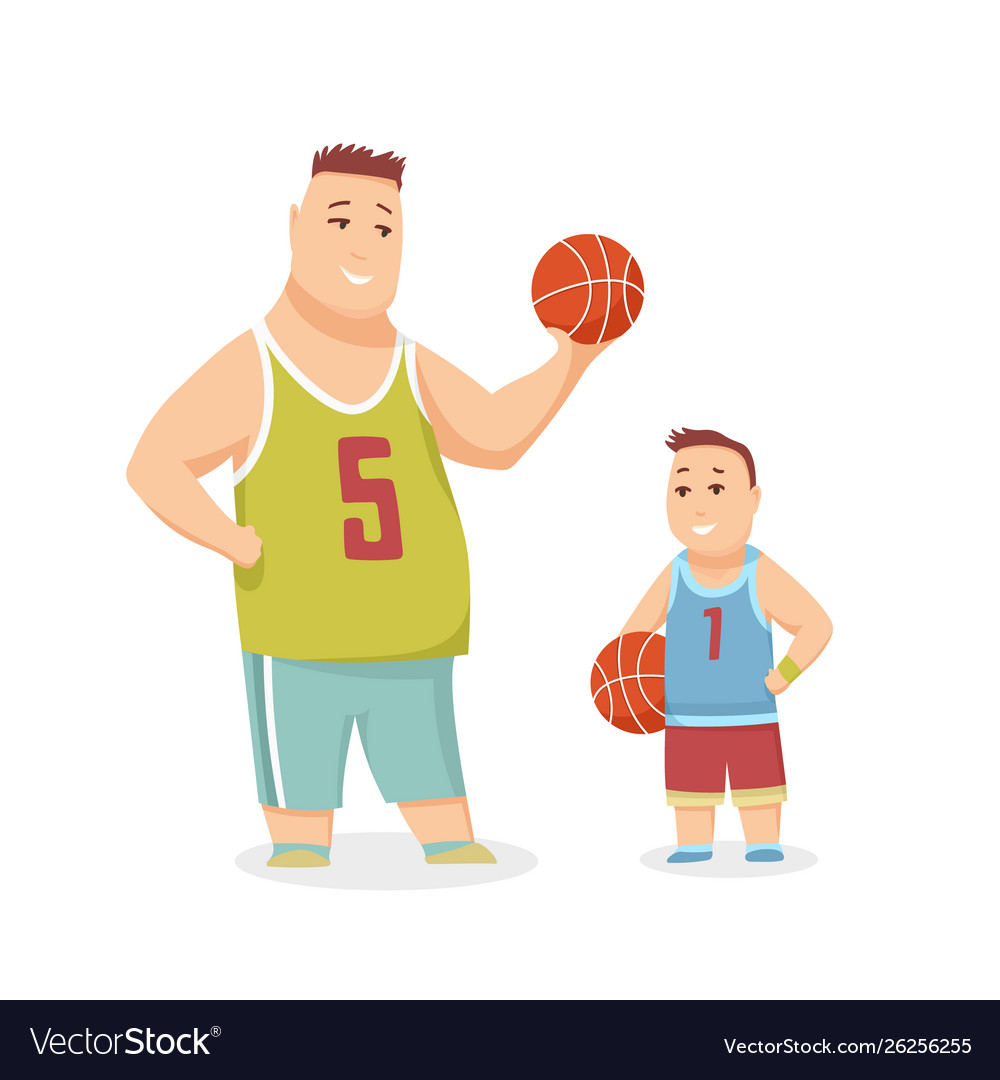 Father and son playing basketball happy family