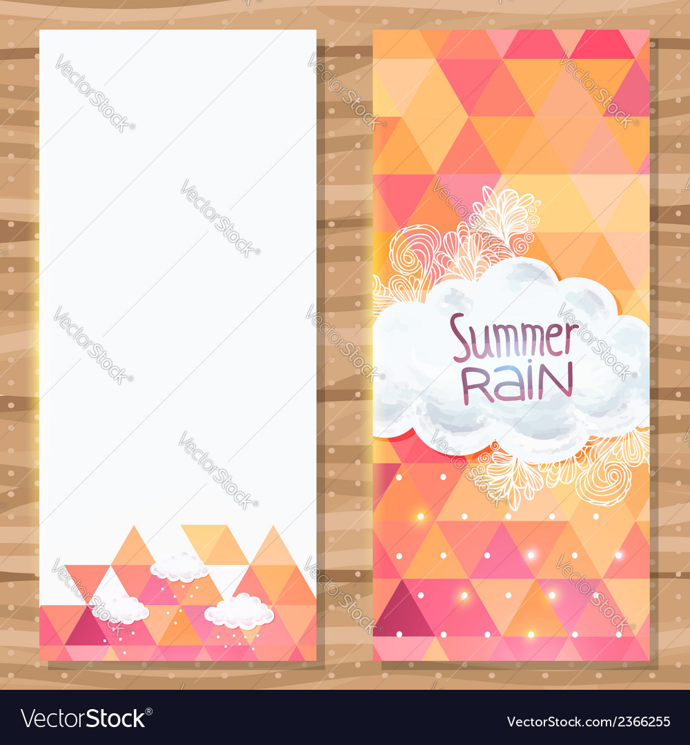 Geometric triangle brochure template with doodles vector image