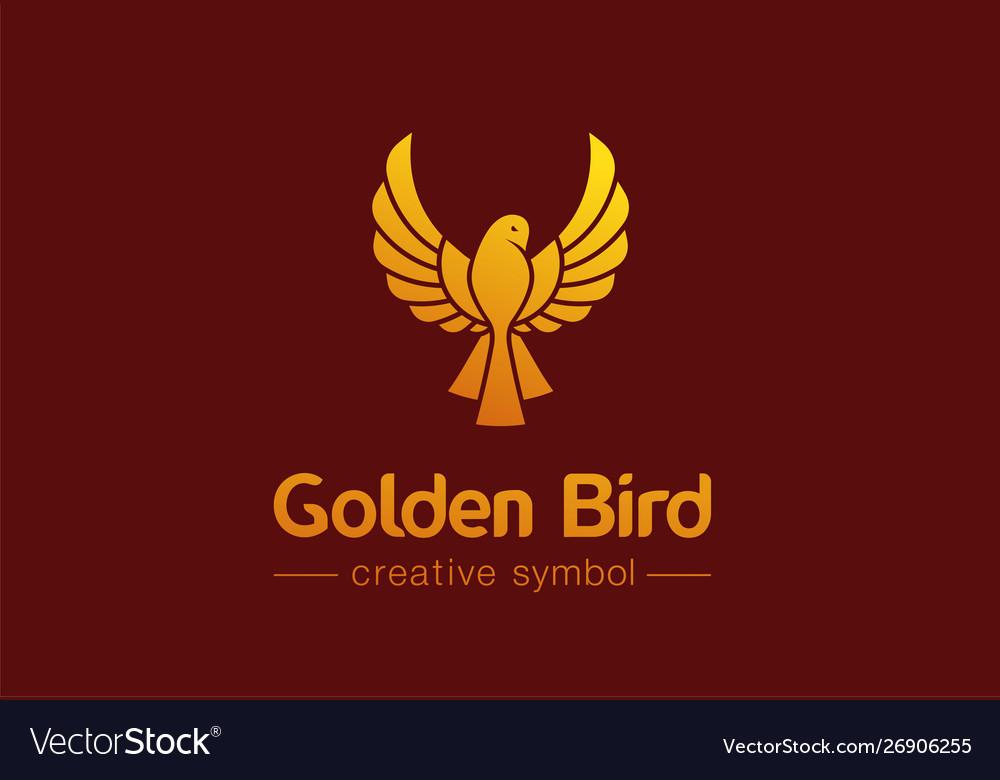 Golden bird in flight creative symbol concept