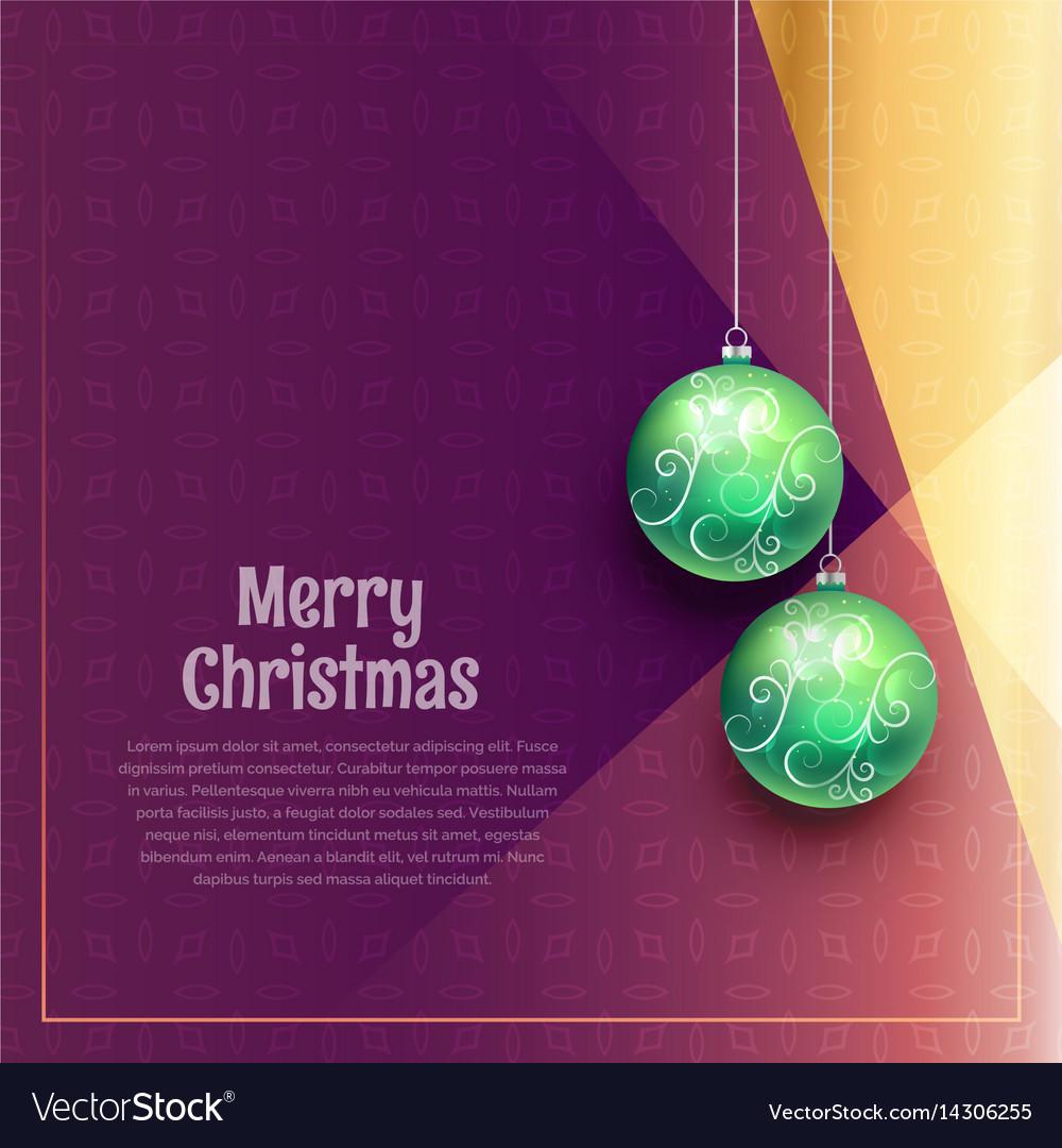 Hanging christmas balls on purple background vector image