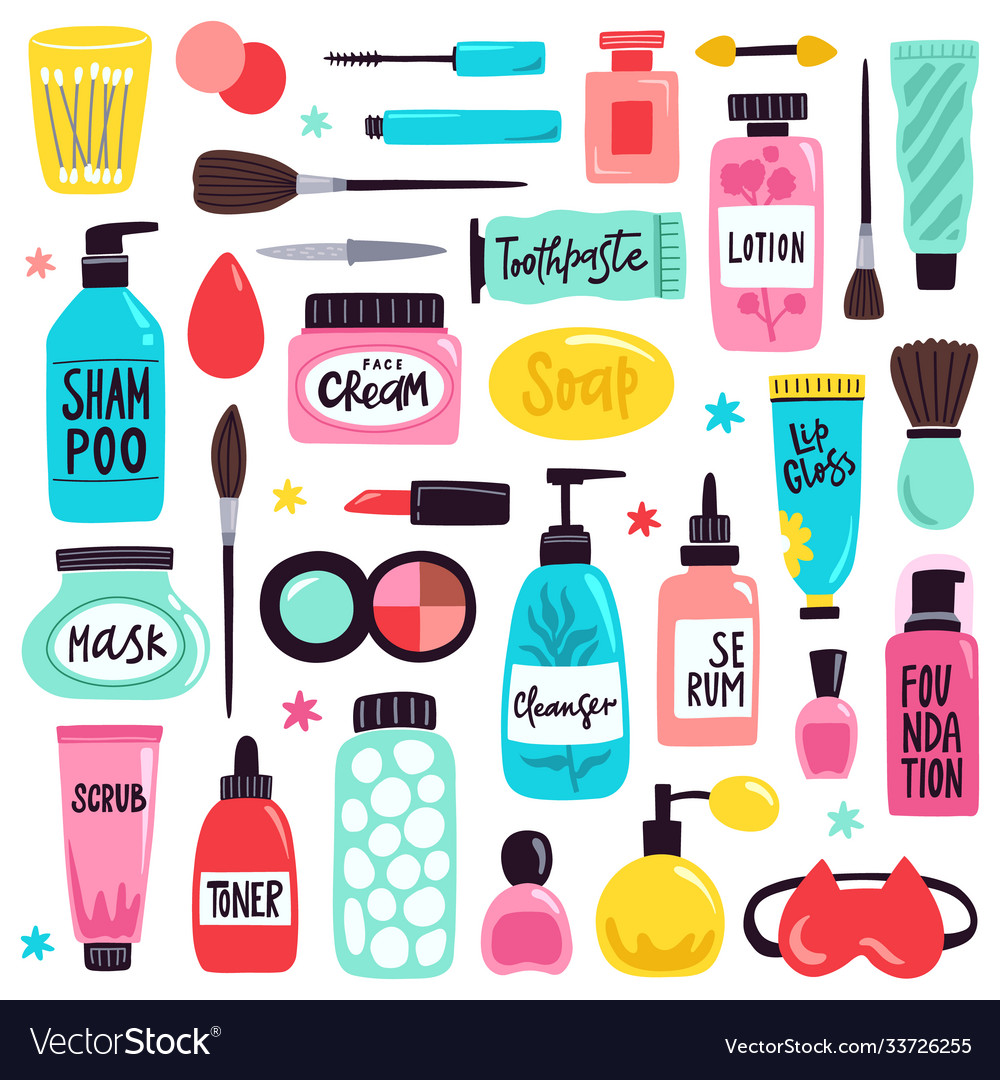 Makeup skincare elements cosmetics products