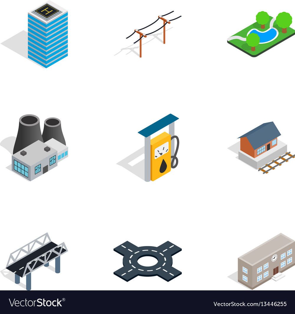 Modern city icons isometric 3d style