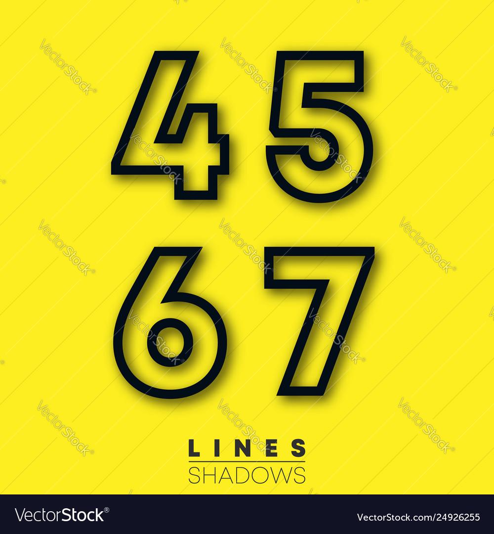 Numbers linear design set number 4 5 6 7