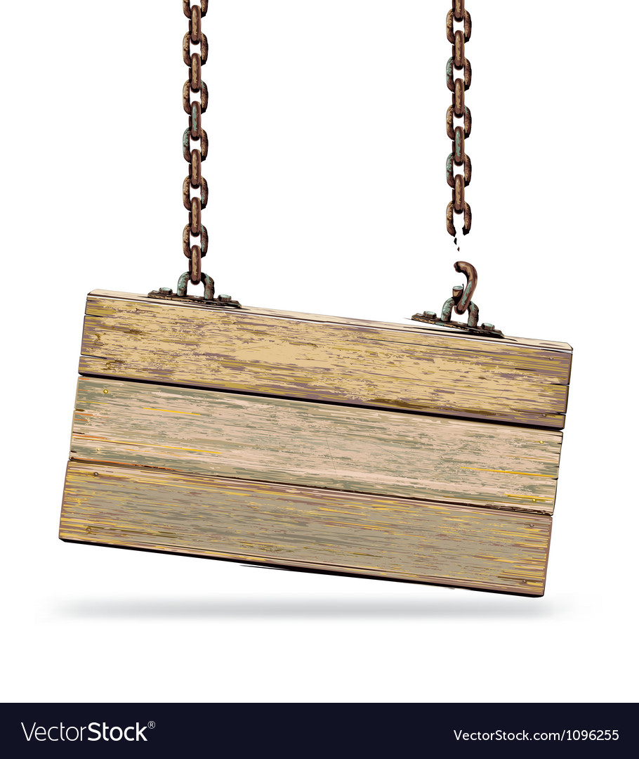 Old color wooden board with rusty chain