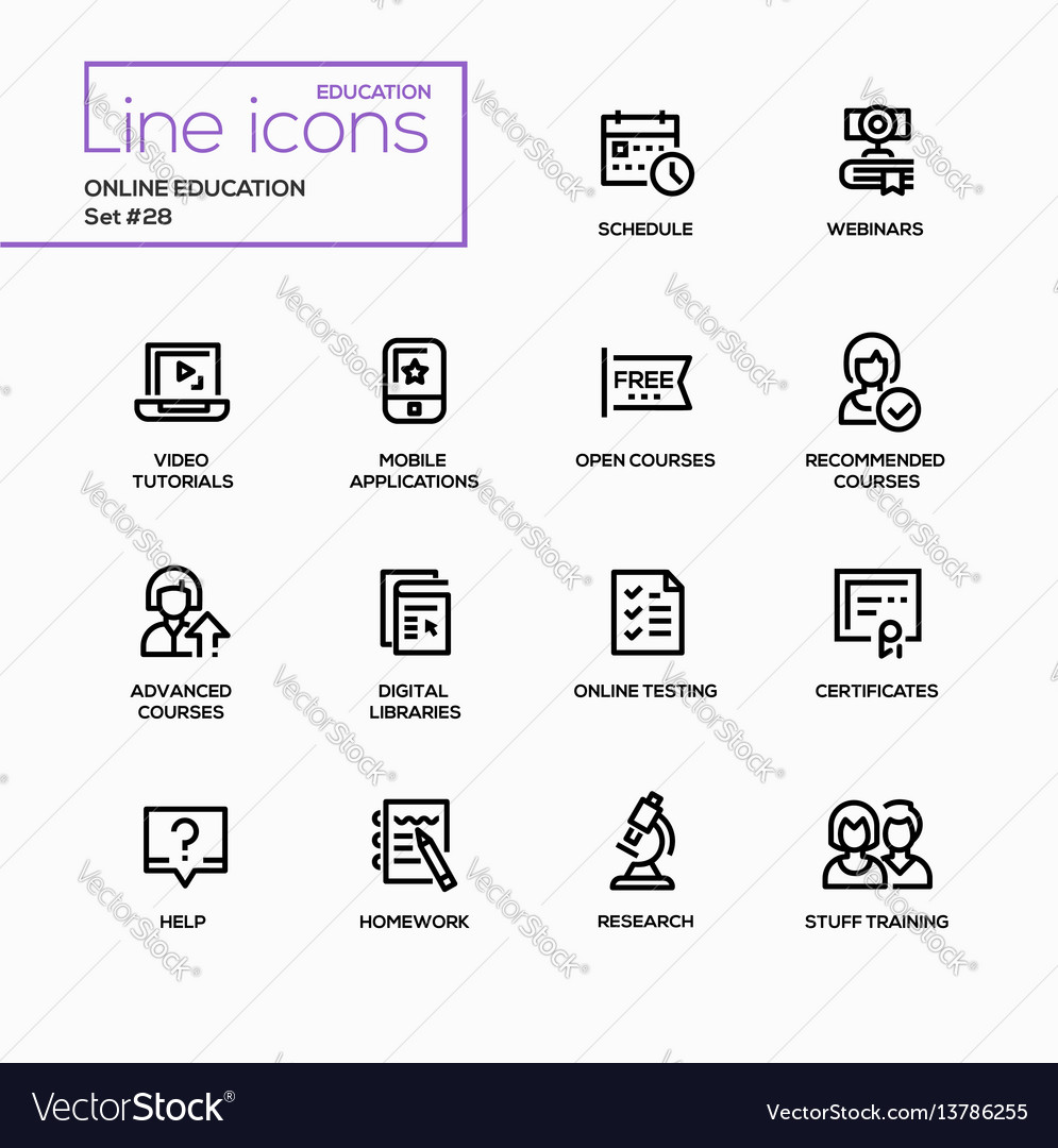 Online education - modern single line icons