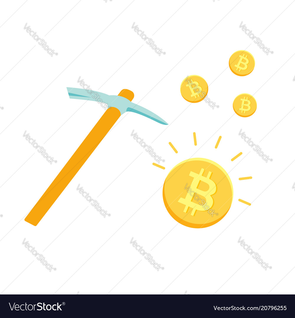 Pickaxe and bitcoins mining cryptocurrency