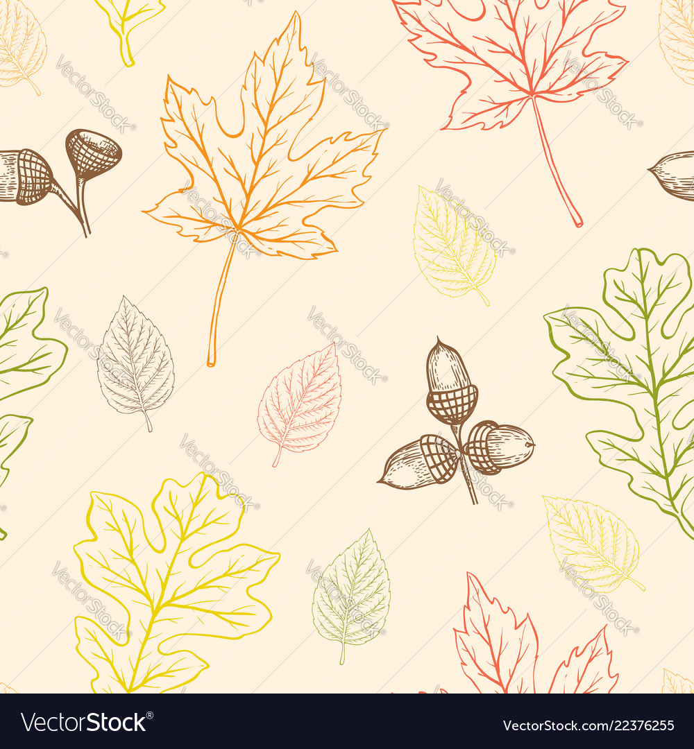 Seamless pattern with oak and maple leaves