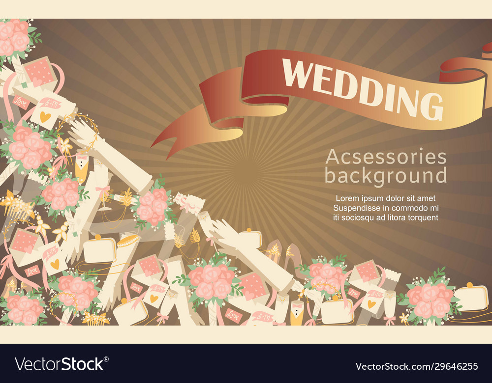 Wedding accessories poster with text bridal