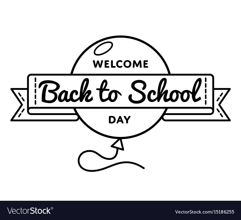 Welcome back to school day greeting emblem vector image m4hsunfo