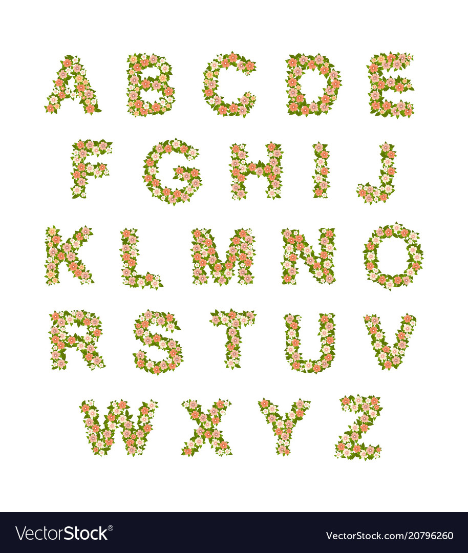Alphabet leaves flowers vector image