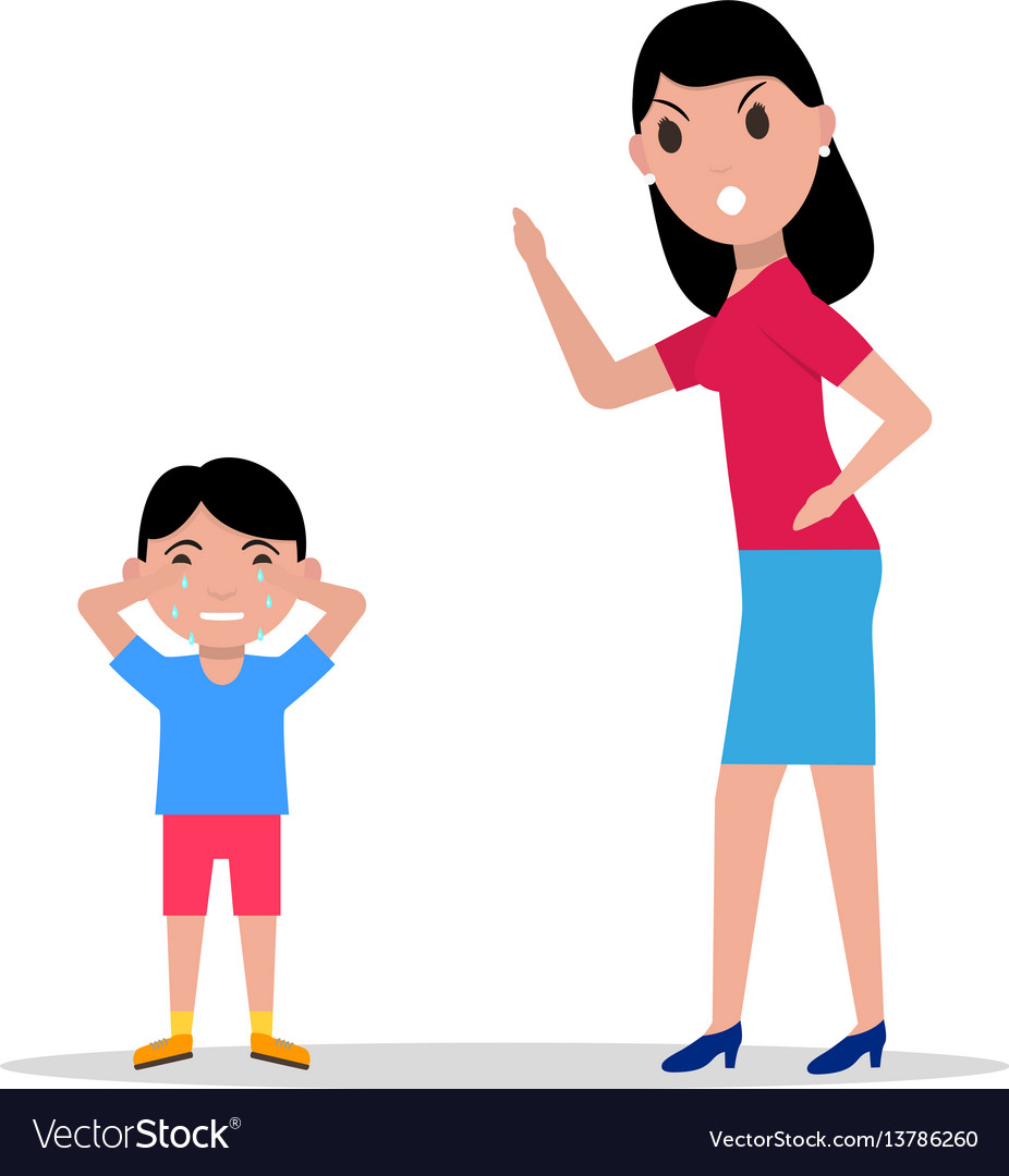 Cartoon angry mother scolding her child Royalty Free Vector