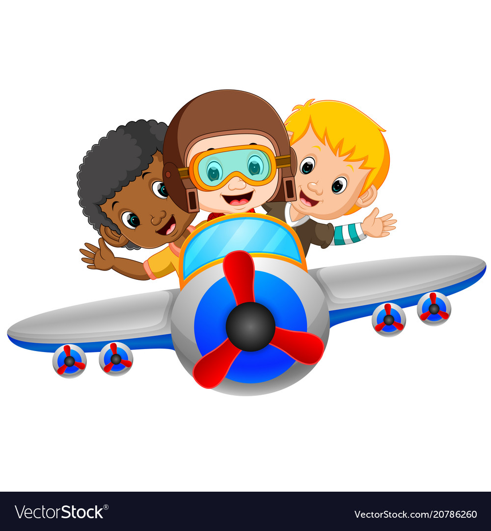 Cartoon Boy Riding Flying Plane Royalty Free Vector Image