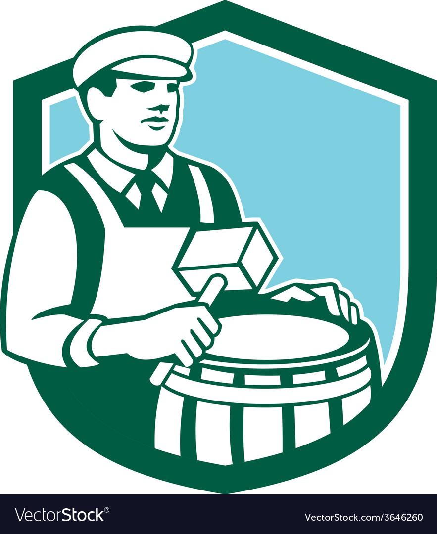 Cooper Barrel Maker Drum Retro Shield
