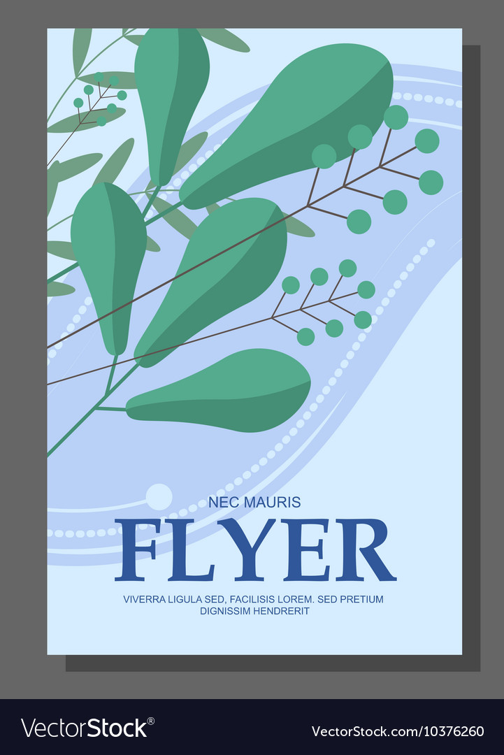 Flyers with abstract leaves and flowers on a