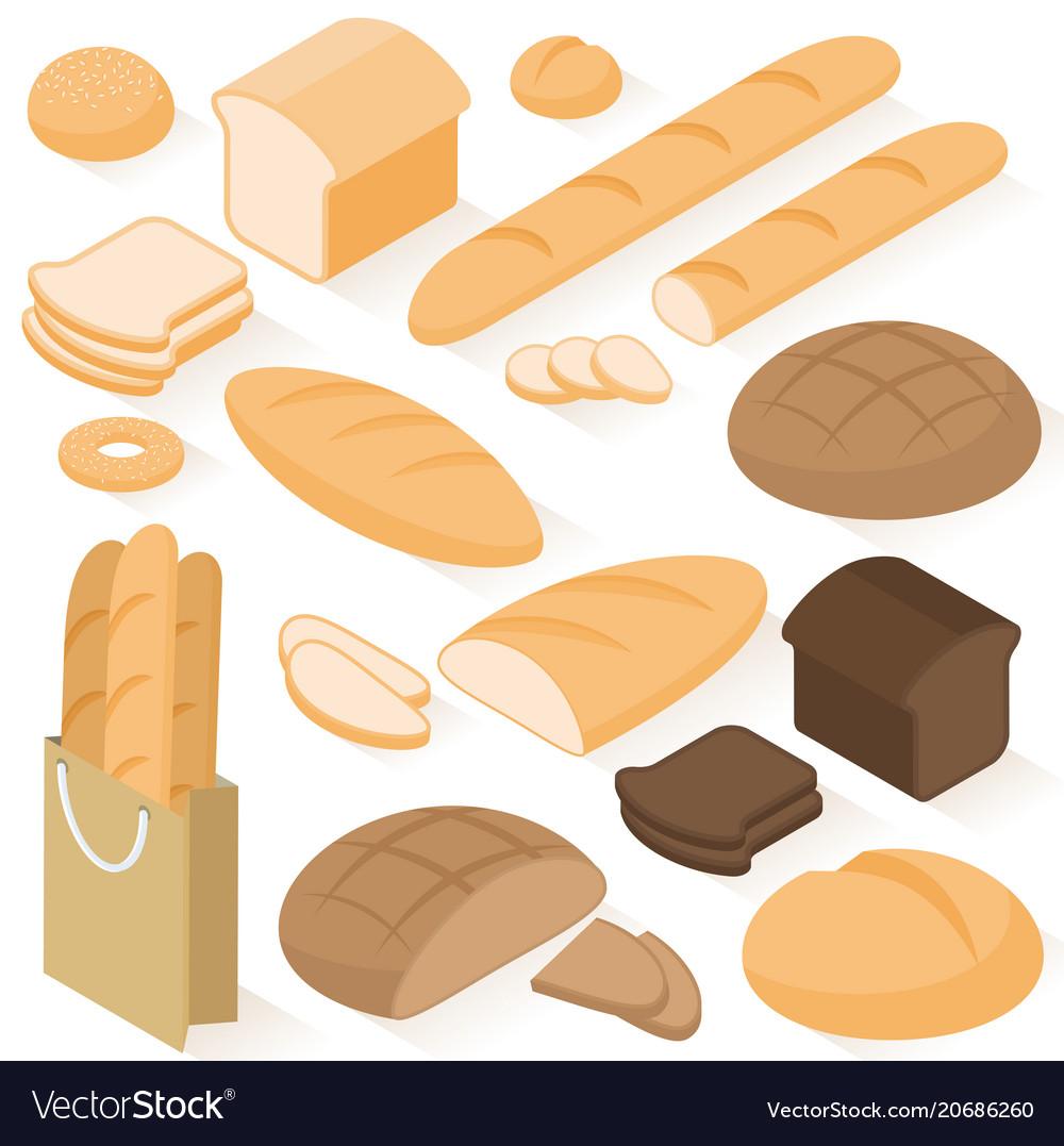 Isometric bread icons