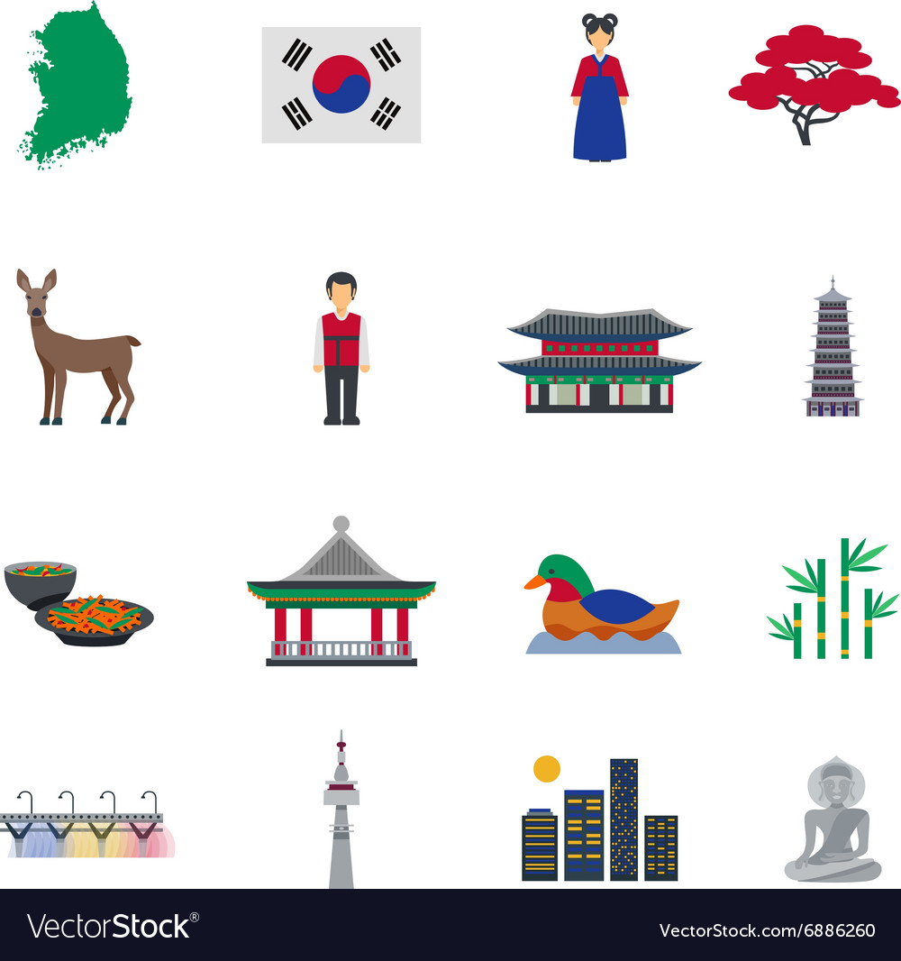 Korean Culture Symbols Flat Icons Set Royalty Free Vector
