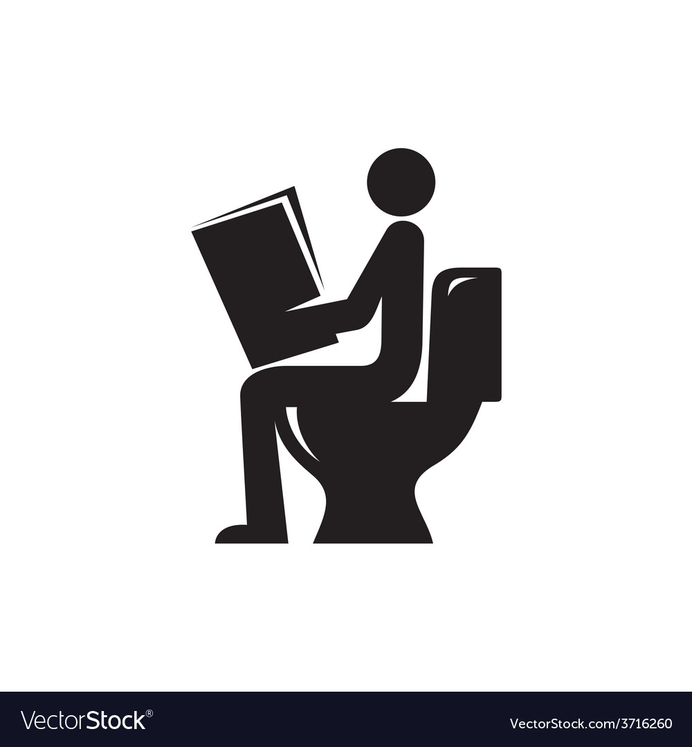reading newspaper in toilet icon royalty free vector image